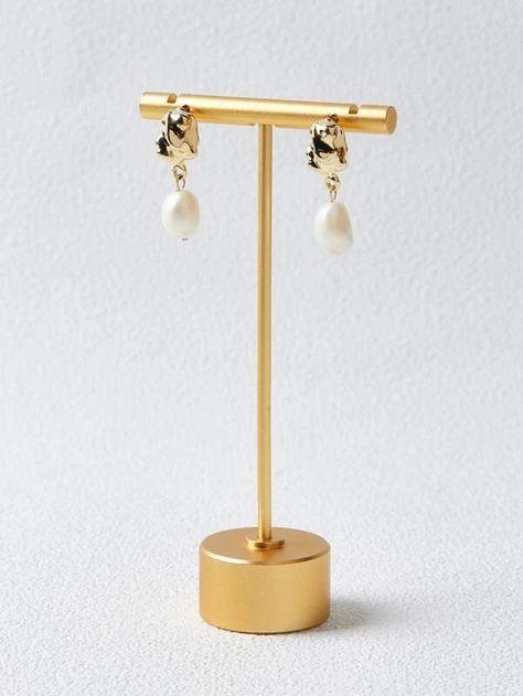 MOTF PREMIUM 14K GOLD PLATED NATURAL PEARL DECOR DROP EARRINGS