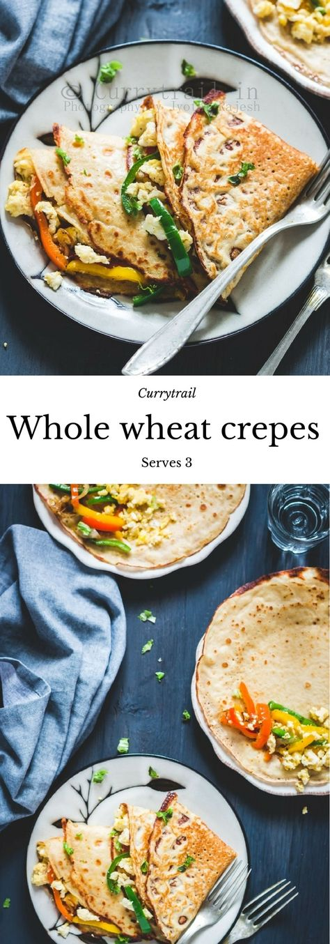 Whole Wheat Crepe with Eggs and Roasted Peppers