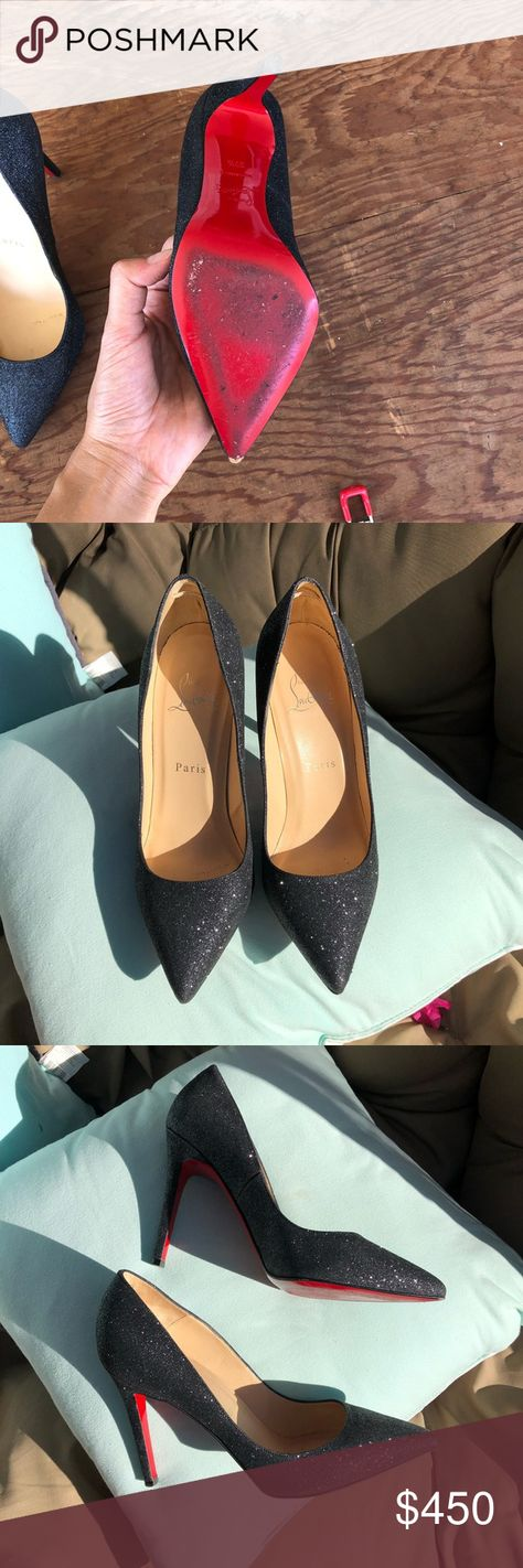 8c604a9ed1776 Christian Louboutin Glitter Pump Elegant dark gray glitter pump from Christian  Louboutin. 100% authentic
