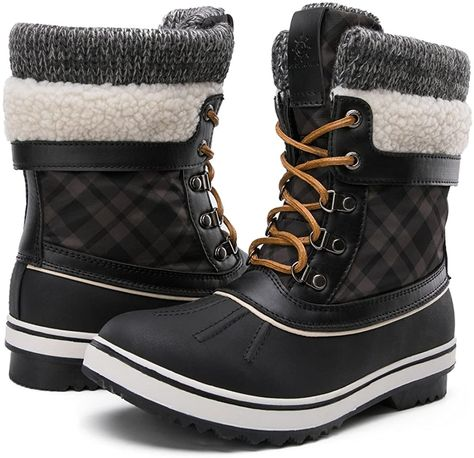 GLOBALWIN Women's Waterproof Winter Snow Boots L.L.Bean Bean Boots Premium PU leather Rubber sole Premium Italian PU Leather Short Lace Up Fur lining Interior Rubber Sole #beanboots