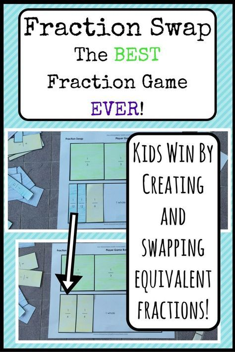 Have some fun this week, teachers! This math game builds important foundational understanding of fraction concepts . and it's fun for students! Students fear fractions less when they participate in hands-on activities that build their concrete underst Teaching Fractions, Math Fractions, Teaching Math, Equivalent Fractions, Comparing Fractions, Dividing Fractions, Multiplication Games, Fourth Grade Math, Third Grade Math