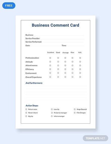 Free Business Comment Card Template Pdf Word Doc Apple Mac Pages Google Docs Business Card Appointment Printable Business Cards Card Template