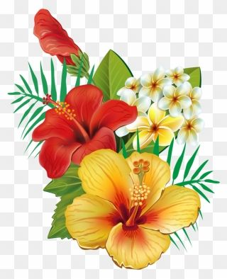 Tropical Flower Watercolor Png Clip Art Royalty Free Hawaiian Flowers Png Transparent Png Painting Tutorial Abstract Digital Flowers Tropical Flowers