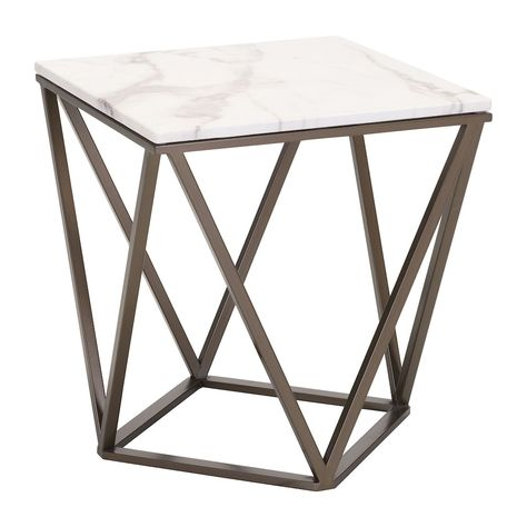 Zuo Modern Tintern Geometric Faux Marble End Table Grey Marble