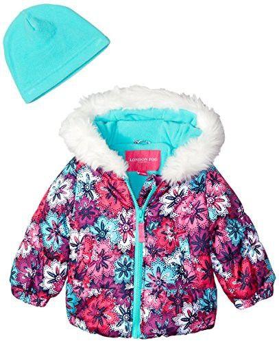LONDON FOG Girls Puffer Jacket with Scarf /& Hat