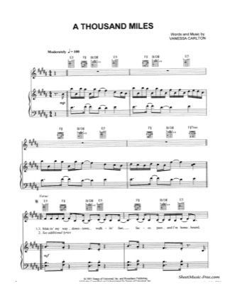 Thumbnail Of First Page Of A Thousand Miles Piano Sheet Music Pdf