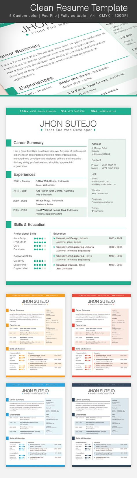 Free Clean Resume Template Free PSD Templates Pinterest - clean resume design