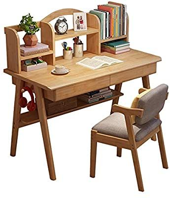 Amazon Com Qiupei Kids Study Table Children S Media Desk And Chair Set Student Study Computer Workstation Wooden Kids Bedroom Furniture Workstatio Di 2020 Meja Belajar
