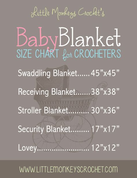 Baby blanket size chart -- with thanks to Rebecca of Little Monkeys Crochet :-) . . . . ღTrish W ~ http://www.pinterest.com/trishw/ . xxxx . . .