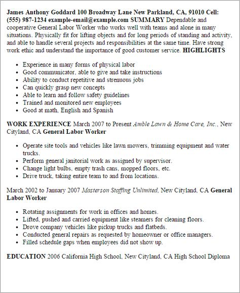Resume For Labour Worker - Expertsu0027 opinions Good Place Pinterest - resume for general labor