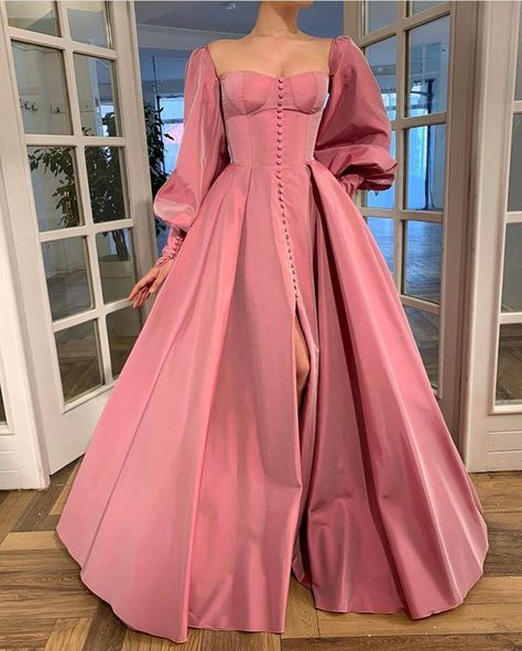 Details: - Exquisite Taffeta fabric - Pink sherbet color - Buttoned A-line style with open skirt and sleeves - For special occasions Elegant Dresses, Pretty Dresses, Beautiful Dresses, Casual Gowns, Vintage Formal Dresses, Dress Formal, Rose Gown, Evening Dresses, Prom Dresses
