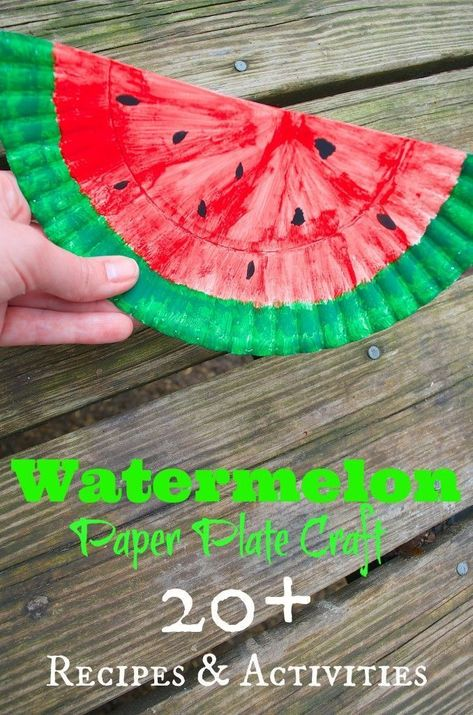 Watermelon Paper Plate Craft for kids PLUS HUGE list of 20+ Watermelon Recipes, Crafts, activities and more! GREAT for summer fun from toddlers to adults! DIY Decor, tween purse and more! #summer #summercrafts #craftsforkids #paperplatecrafts #preschool #