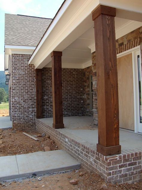 Love These Thick Stained Porch Columns Porch Remodel Porch Beams Front Porch Posts