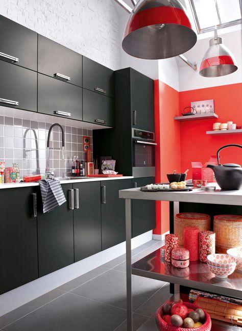 Idée couleur cuisine  la cuisine rouge et grise