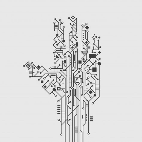 Download Computer Circuit Board In Hand Shape Creative Technology Poster Vector Illustration for free