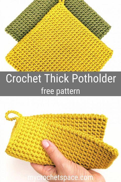 Crochet Potholder Patterns, Crochet Dishcloths, Knitting Patterns, Crochet Hot Pads, Crochet Towel, Crochet Gifts, Diy Crochet, How To Crochet, Crochet Basics
