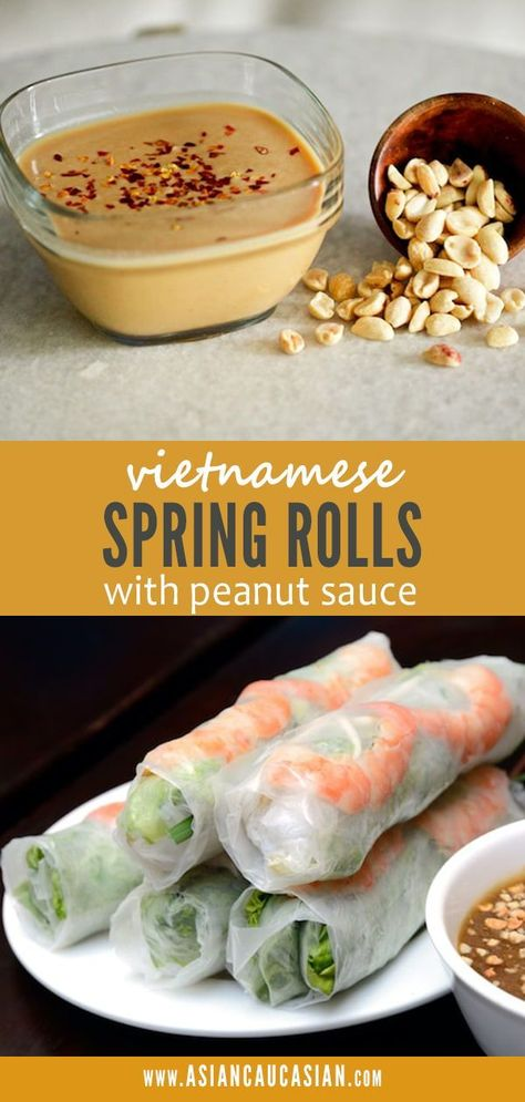 Vietnamese Spring Rolls with Shrimp & Spicy Peanut Dipping Sauce - These healthy Vietnamese Spring Rolls with Spicy Peanut Sauce are the perfect quick and easy appeti - Easy Spring Rolls, Healthy Spring Rolls, Shrimp Spring Rolls, Rice Paper Spring Rolls, Shrimp Rolls, Simple Spring Roll Recipe, Rice Spring Rolls Recipe, Peanut Sauce Recipe, Spicy Peanut Sauce