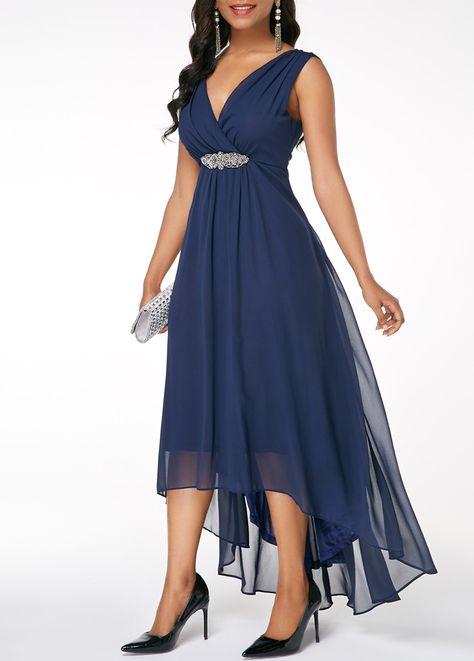 Sleeveless V Back High Low Navy Blue dress | Rosewe.com - USD $33.13