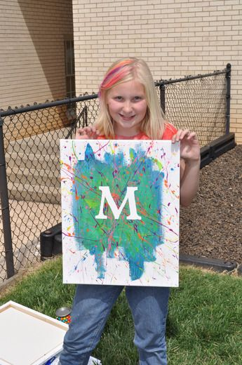 Art Party- great ideas on this site. Love the splatter paint initial canvases!
