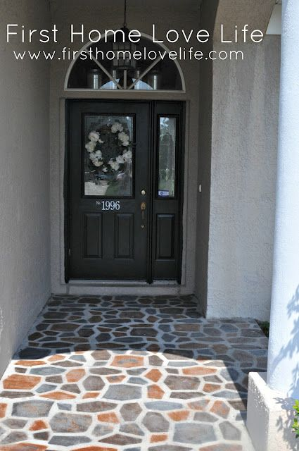 A cracked and crummy front stoop is given a makeover with a little concrete, a mold, sealer and spray paint to create this fabulous looking entry. Via FIrstHomeLoveLife.com