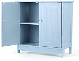 Ikayaa armadietto sotto lavabo in legno blu per sotto il lavello