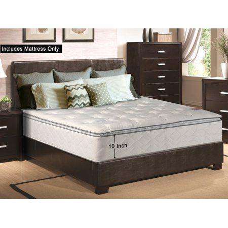 Continental Sleep Medium Plush Pillow Top 10 Inch Innerspring Mattress Beige Mattress Firm Pillows Pillow Top Mattress