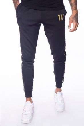 Sport Luxe Poly Track Pants Black Gold Sports Fashion Men Track Pants Black Pants