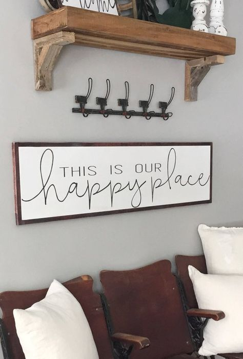 This is Our Happy Place Sign- Entryway Decor- Living Room Sign- Mantle Decor- Large Wood Sign- Distressed Sign- Long Wood Sign- Gift