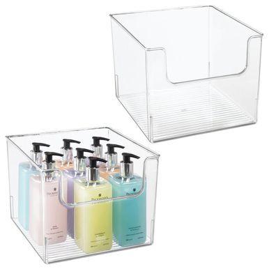 Wide Plastic Bathroom Vanity Storage Bin With Dipped Front 10 X 10 X 7 75 Bathroom Vanity Storage Storage Bins Cube Storage