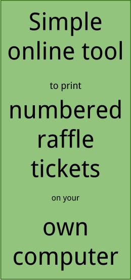 Print Numbered Raffle Tickets from your own Computer Raffle - Plate Sale Ticket Template