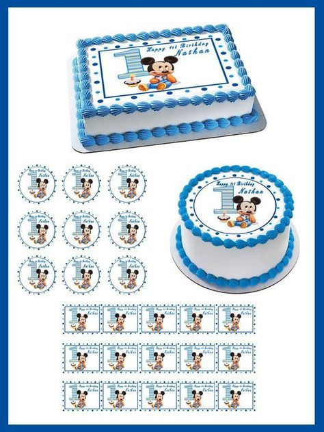 Brilliant Details About Baby Mickey Mouse 1St Birthday Edible Cake Topper Personalised Birthday Cards Petedlily Jamesorg
