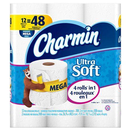 Charmin Ultra Soft Toilet Paper 12 Mega Rolls Pack Of 1 Walmart Com Charmin Best Toilet Paper Bath Tissue