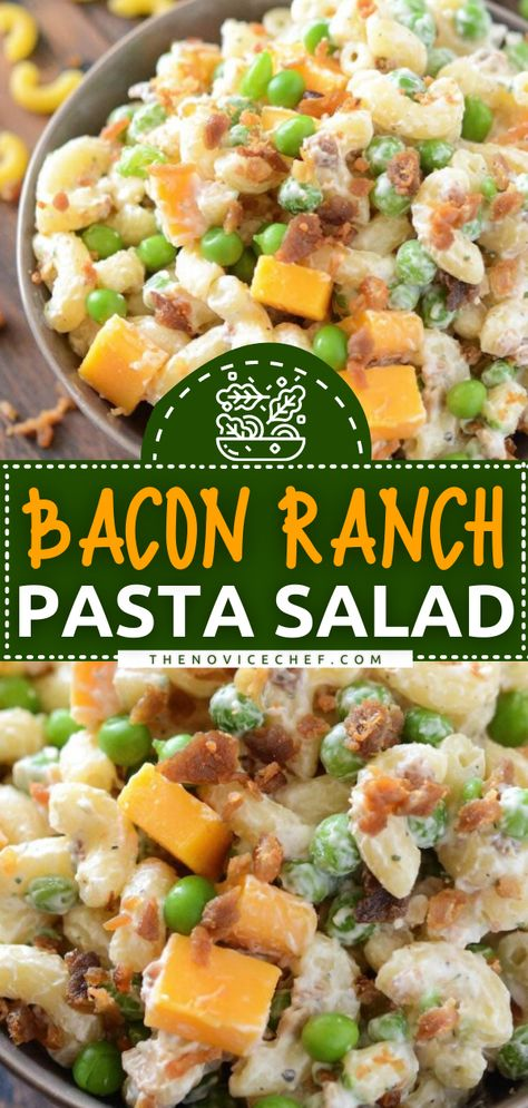 This spring dinner recipe is sure to become a favorite! Tossed together with cheddar cheese, bacon, peas, and ranch seasoning, this creamy pasta salad has a ton of flavor. Plus, it is so quick and easy to make! The perfect side dish for parties or potlucks! Save this pin!