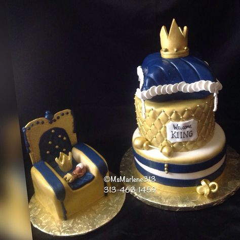 3 Tiered Royalty Themed Baby Shower Cake w/Matching Kings Throne Cake w/Sleeping Baby by #msmarlene313 ....313-463-1459....#3tieredcake #royalty #kingsthrone #royalbabyshower #babyshowercake #royalbluegoldwhite #pillowcake #quiltpattern  #cakequeenmarlene #cakelady313 #customcakesdetroit #detroitscakelady #detroitsfinest #detroitcustomcakes #designercakesdetroit #madeindetroit #313 #msmarlene313