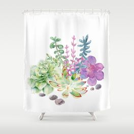 Succulents Shower Curtain With Images Shower Curtain Bathroom