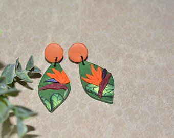 Tropical Polymer Clay Earrings Birds Of Paradise Flowers In 2020 Clay Earrings Tropical Earrings Handmade Polymer Clay