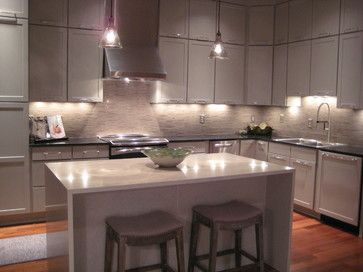 Penthouse Condo Transitional Kitchen, Kabinart Cabinets To Ceiling To  Maximize Storage, Under Cabinet Lighting