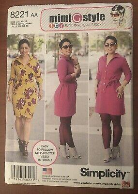 Simplicity 8221 Misses Mimi Style Dresses /& Tie Belt Sewing Pattern Sz 10-18