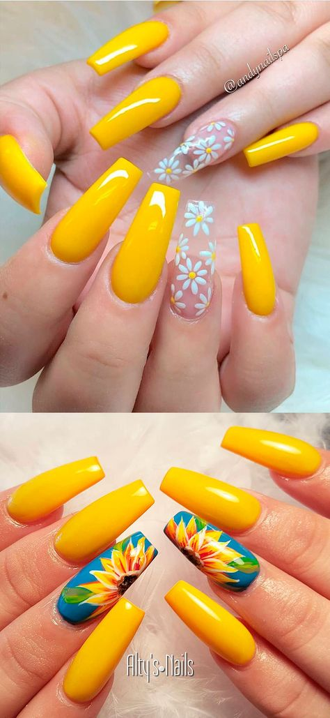 Beautiful yellow summer acrylic nails coffin We have chosen the most beautiful yellow nail art designs for summer 2019 between yellow and grey nails, yellow and black nails, and yellow and silver nails. Yellow Nails Design, Yellow Nail Art, Purple Nail, Acrylic Nails Yellow, Bright Gel Nails, Yellow Toe Nails, Green Nails, Nail Art Designs, Cute Acrylic Nail Designs