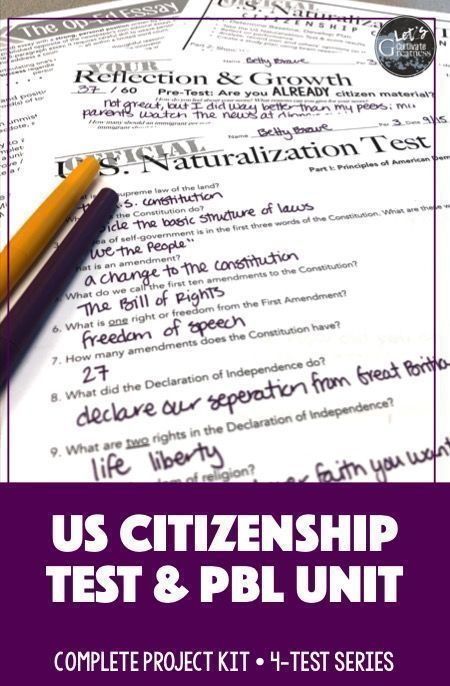 Citizenship Test Kit with Op-Ed Essay Project PBL | American
