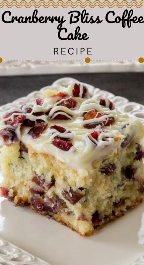 This Cranberry Bliss Coffee Cake Recipe a delicious coffee cake loaded with cranberries, white chocolate, and a cream cheese frosting. A delicious, soft coffee cake with cranberries. #dessert #cakerecipe #coffeecake #cranberryrecipe #breakfast