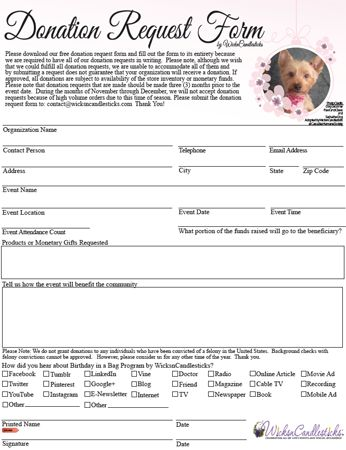 Please download our free donation request form and fill out the - sample donation request form