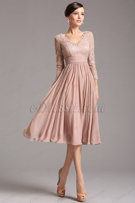 [USD 139.99] Rosy Brown Tea Length Cocktail Dress with Lace Sleeves (26160146)