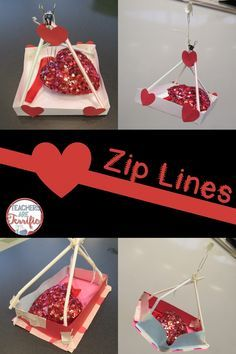 What a fun STEM Challenge! Students design a way to use a zip line to deliver a Valentine's Day gift! Includes teacher directions, lab sheets, and photos! Could obv be redesigned to carry something besides Valentines.
