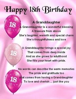 Granddaughter Poems Happy 18th Birthday Quotes Niece Quotes Birthday Verses