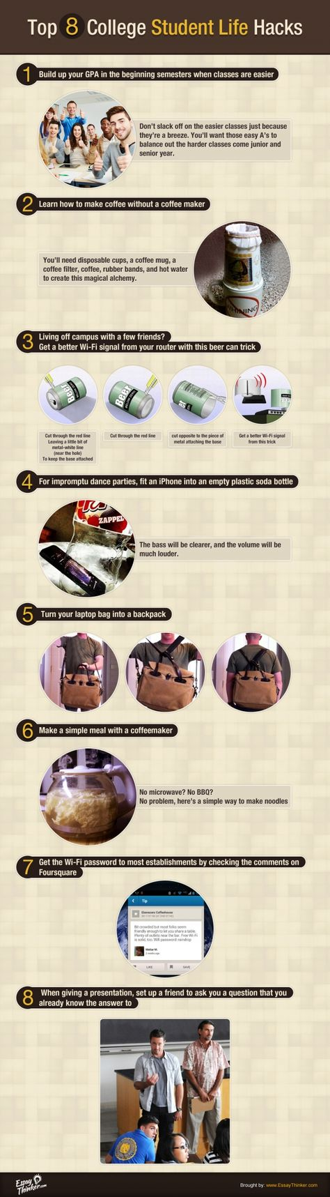 Top 8 College Student Life Hacks Infographic - e-Learning Infographics