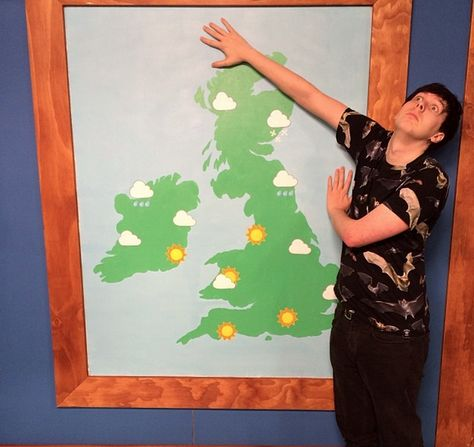 "I need to see what this is from. (""Phil living his dream of weather man<<he'd make a freaking awesome weather person. ""And today's forecast calls for a slight chance of lions and cereal"")"
