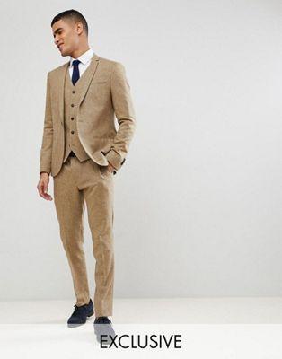 Asos Noak Skinny Suit In Fleck Tan Light Brown 3 Piece Wedding