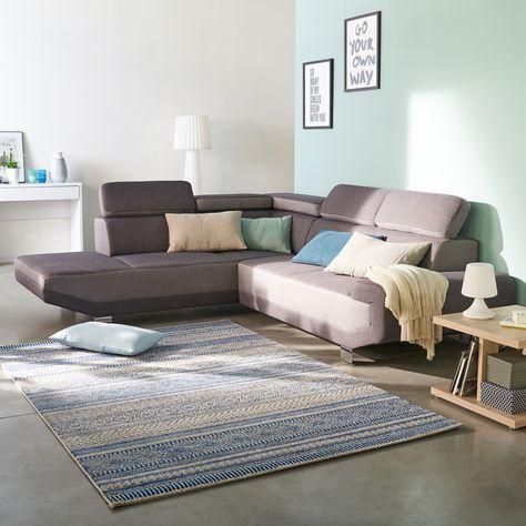 Artic Canape D Angle Fixe Gauche En Tissu Bicolore Gris Salon Decoration Deco Maison Alinea Canape Design Canape Angle Canape