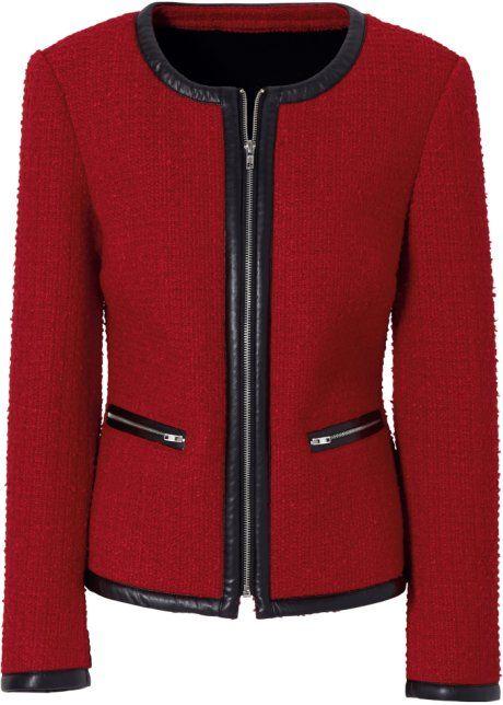 3f3e47971b Blazer vermelho manga longa com decote redondo